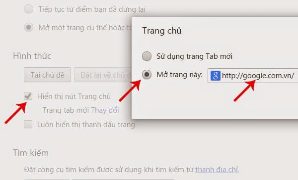 Hướng dẫn cài đặt Google làm trang chủ trong Google Chrome
