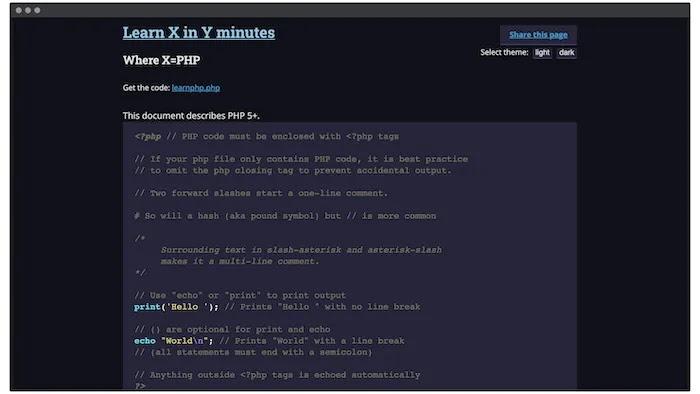 موقع ويب Learn X In Y Minutes.