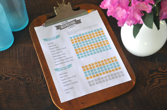 An editable download of  room inspection chore chart to help your kids clean their room