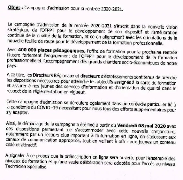 Inscription 2020-2021 OFPPT ISTA ITA