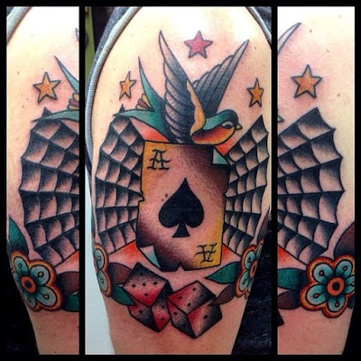 Ace and Bird Tattoo