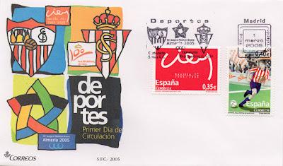 sellos, sobre, matasellos, Sevilla, Sporting, fútbol, filatelia