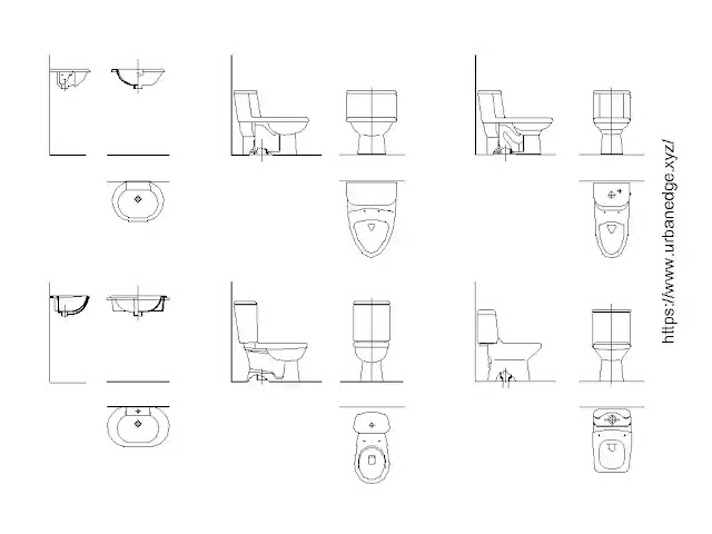 Toilet details free cad blocks download - 15+ Toilet dwg cad models