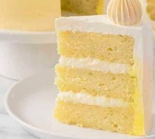 Three tire Lemon Cake with Swiss Meringue frosting