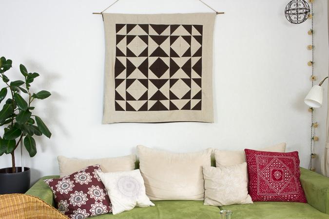 Wandteppich mit geometrischem Muster - Green Bird - DIY Mode, Deko ...