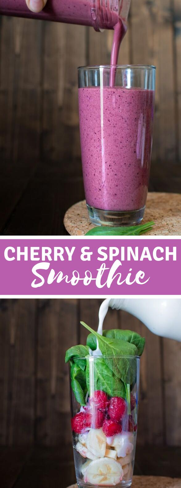 CHERRY SPINACH SMOOTHIE #healthydrink #breakfast