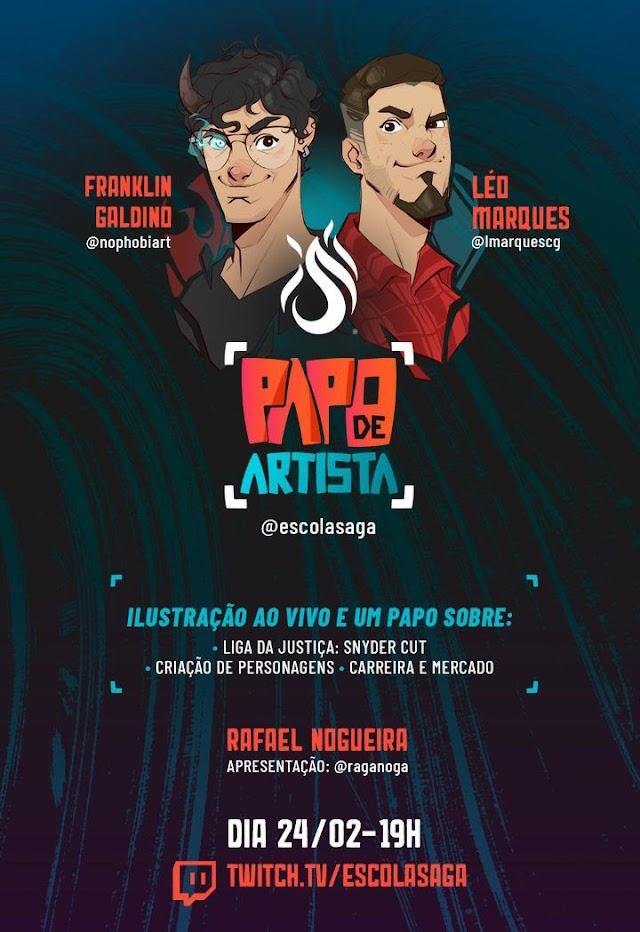 """Escola SAGA promove hoje (24) o primeiro """"Papo de Artista"""" em seu canal na Twitch"""