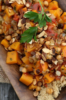 Butternut Squash Stew w/ Chickpeas, Raisins, & Almonds over Whole Wheat Couscous