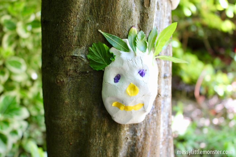 clay tree faces - summer camp craft for kids.