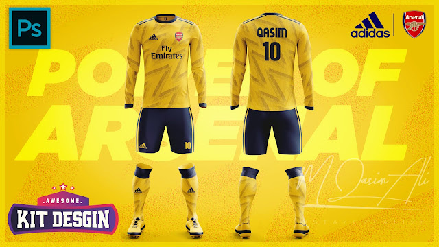 Arsenal 2019-20 Away Kit Design in Photoshop cc 2019 by M Qasim Ali