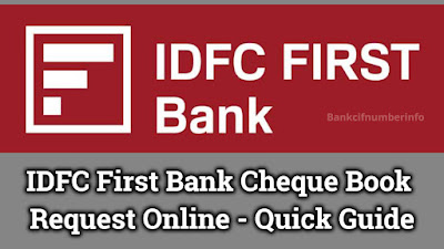 IDFC first bank cheque book request