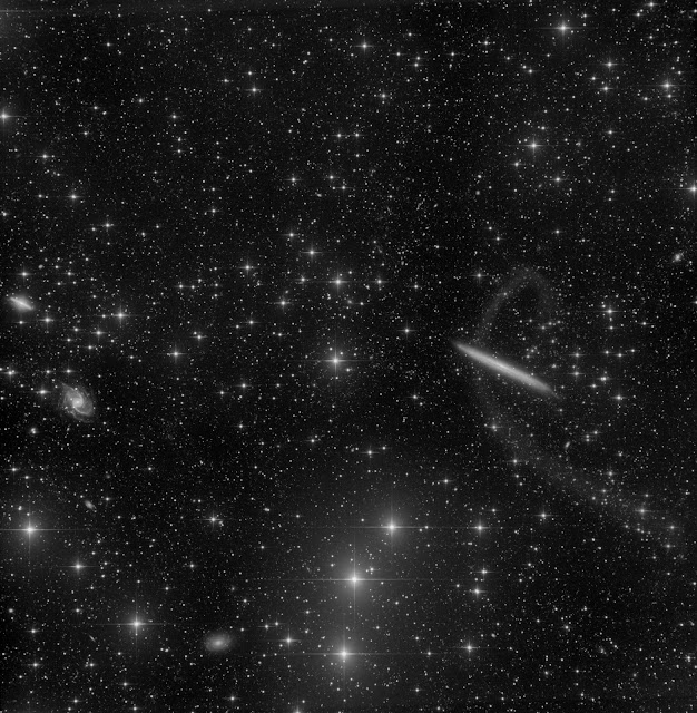 NGC 5907 imaged on ATEO-1 with 29 hours of luminance image data.  Image data acquired by Muir Evenden and processed by Utkarsh Mishra and Michael Petrasko.