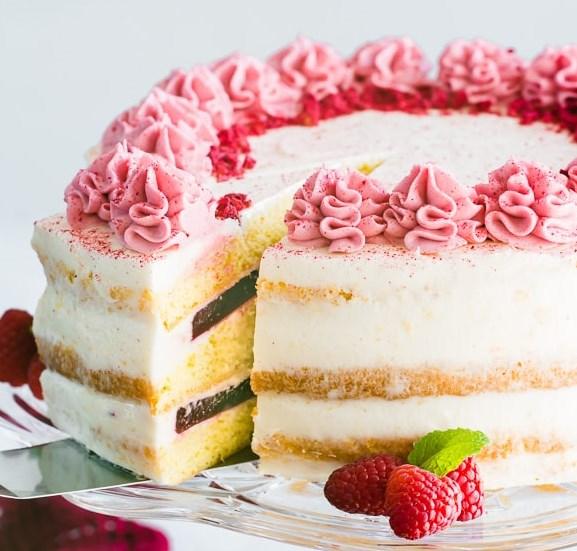 Raspberry Layer Cake with Cream Cheese Frosting #dessert #cake
