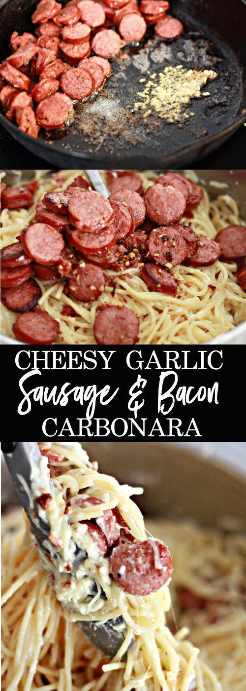 This is truly one of our family's favorites dinner recipes.  It is also my go-to recipe for something quick, hearty and comforting.  This Cheesy Garlic Sausage and Bacon Carbonara never disappoints!