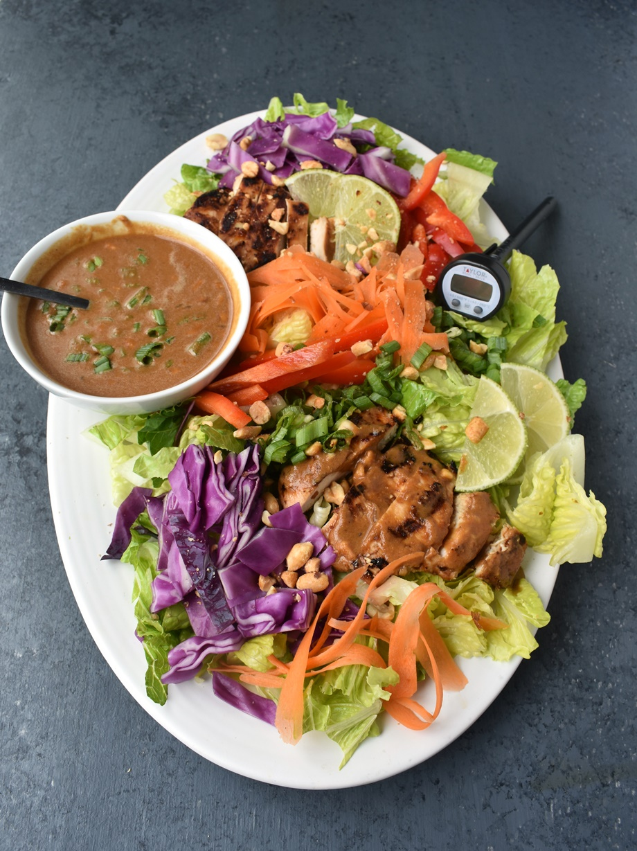 platter of Thai peanut chicken salad