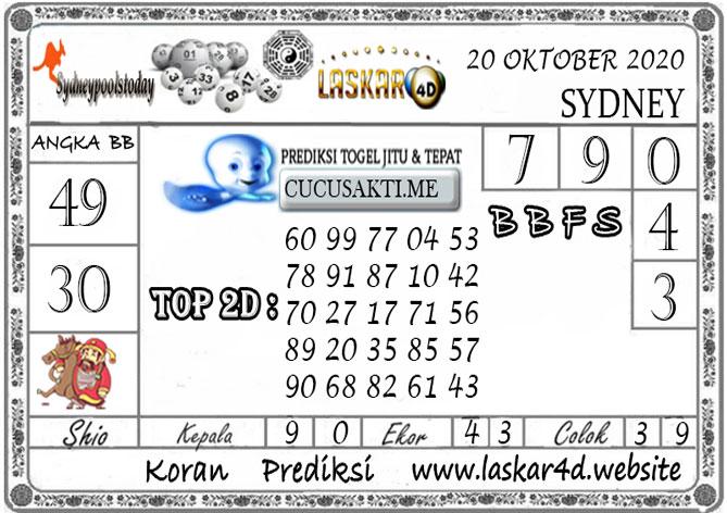 Prediksi Togel SYDNEY LASKAR4D 20 OKTOBER 2020