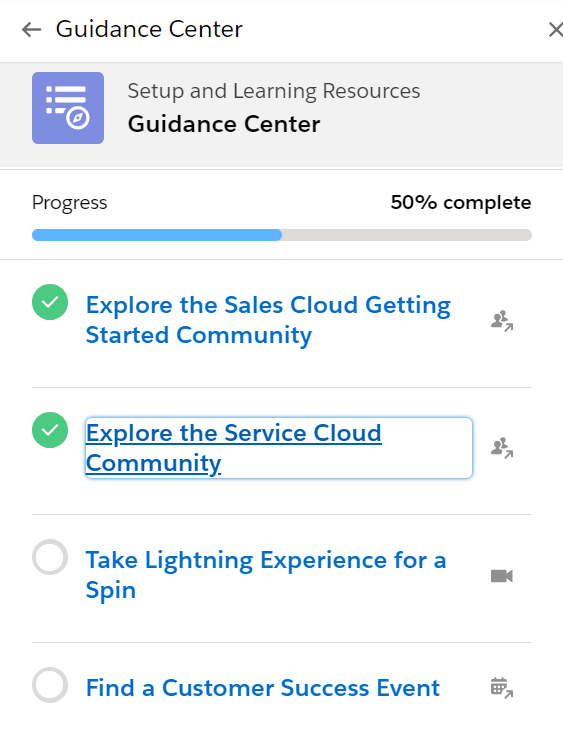 Guidance center Salesforce