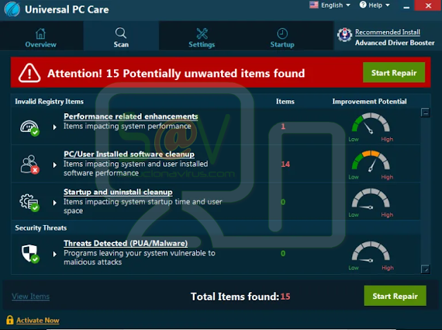 Universal PC Care (Falso optimizador)