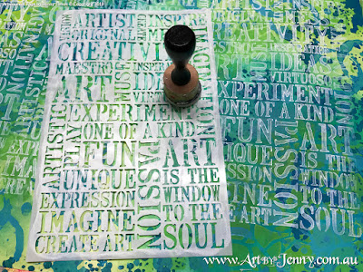more stenciled layers on the background for Mixed Media artwork by Jenny James featuring the theme Bucket List