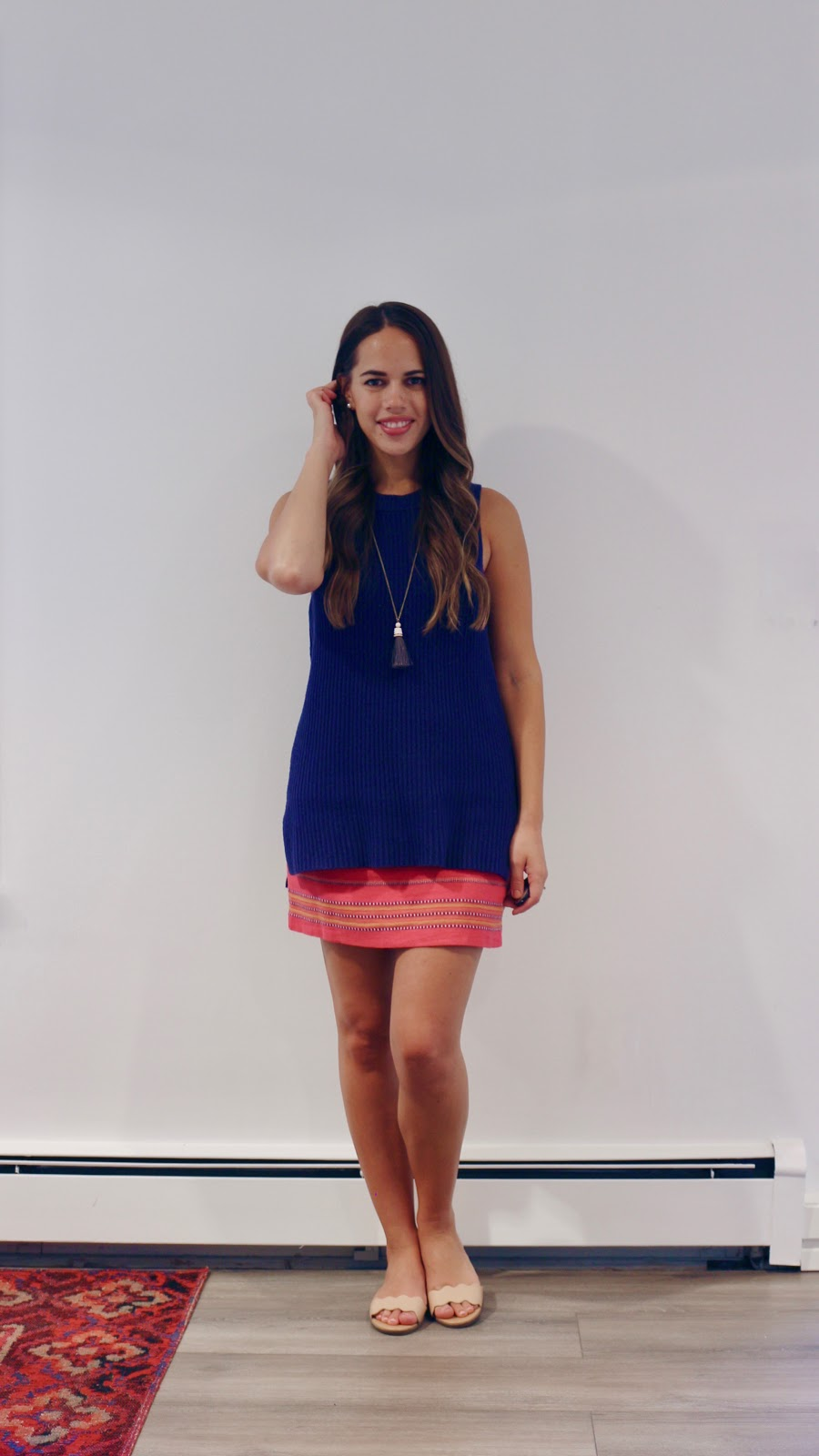 Jules in Flats -  Sleeveless Knit Tunic with Mini Skirt (Business Casual Summer Workwear on a Budget)
