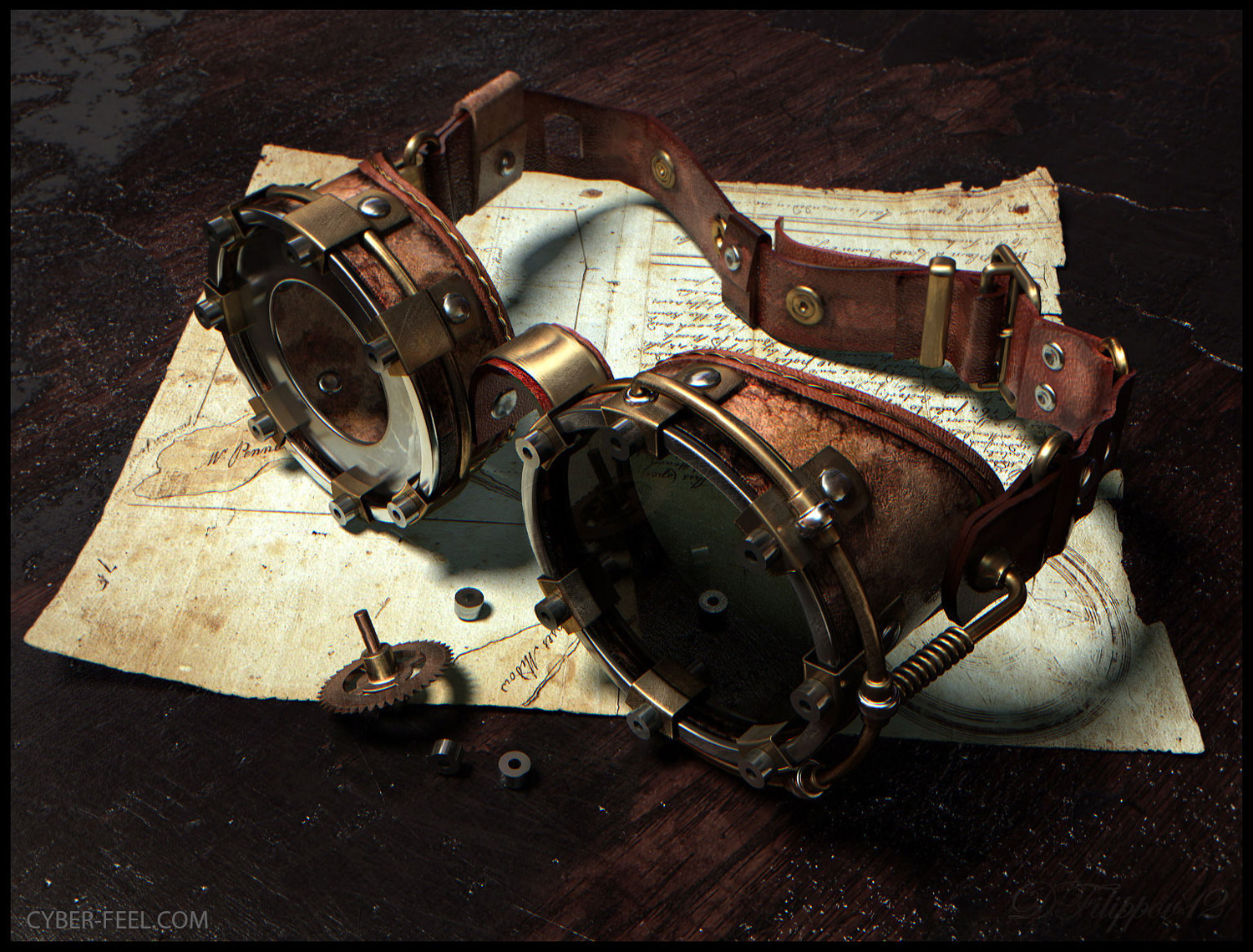 09-Goggles-Dmitry-Filippov-Steampunk-Digital-Art-with-the-Zodiac-www-designstack-co