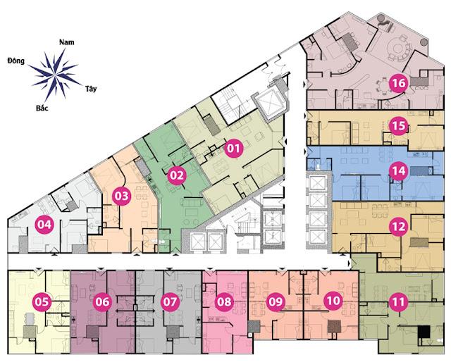 Vị trí căn 48m2 là căn số 9 và số 10 trên sơ đồ mặt bằng