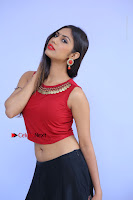 Telugu Actress Nishi Ganda Stills in Red Blouse and Black Skirt at Tik Tak Telugu Movie Audio Launch .COM 0043.JPG