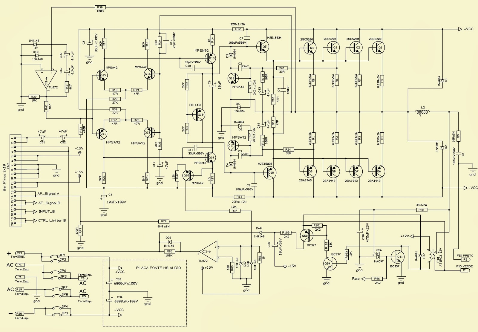 Pro Audio Wiring Diagrams Two Phase Electric Motor Diagram Hotsound Professional Stereo Hs 2600 Schematic