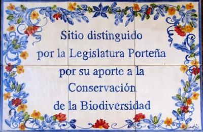 Sitio distinguido por la Legislatura Porteña por su aporte a la Conservación de la Biodiversidad