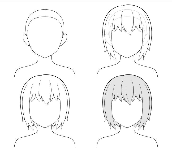menggambar anime rambut cewe