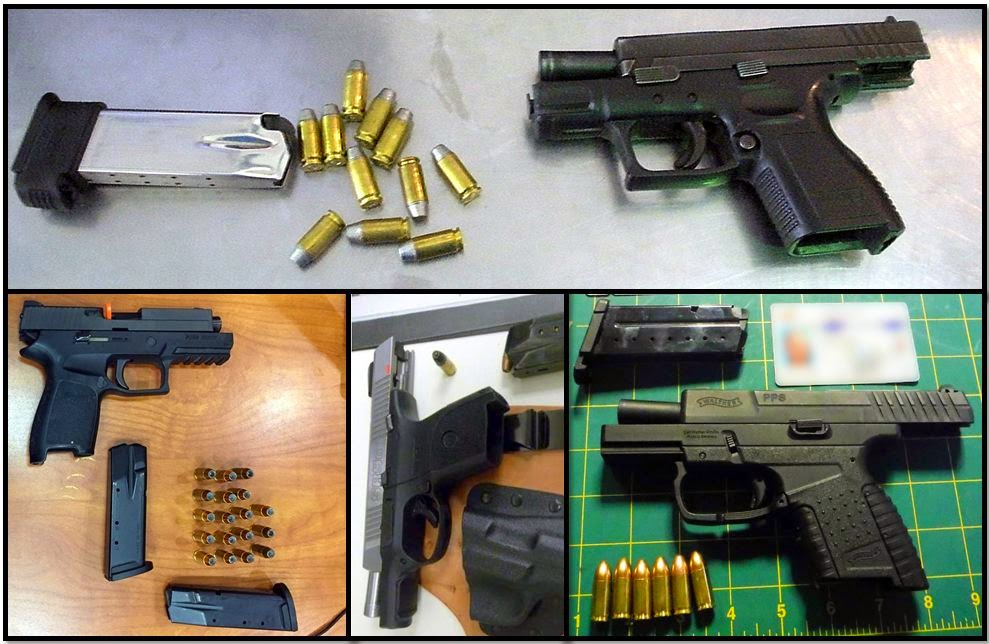 Clockwise from top, firearms discovered at: CVG, LAS, SDF, and ATL