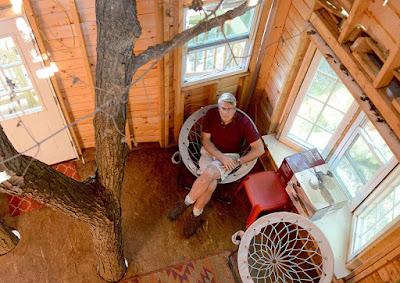 casa del árbol con muebles reales