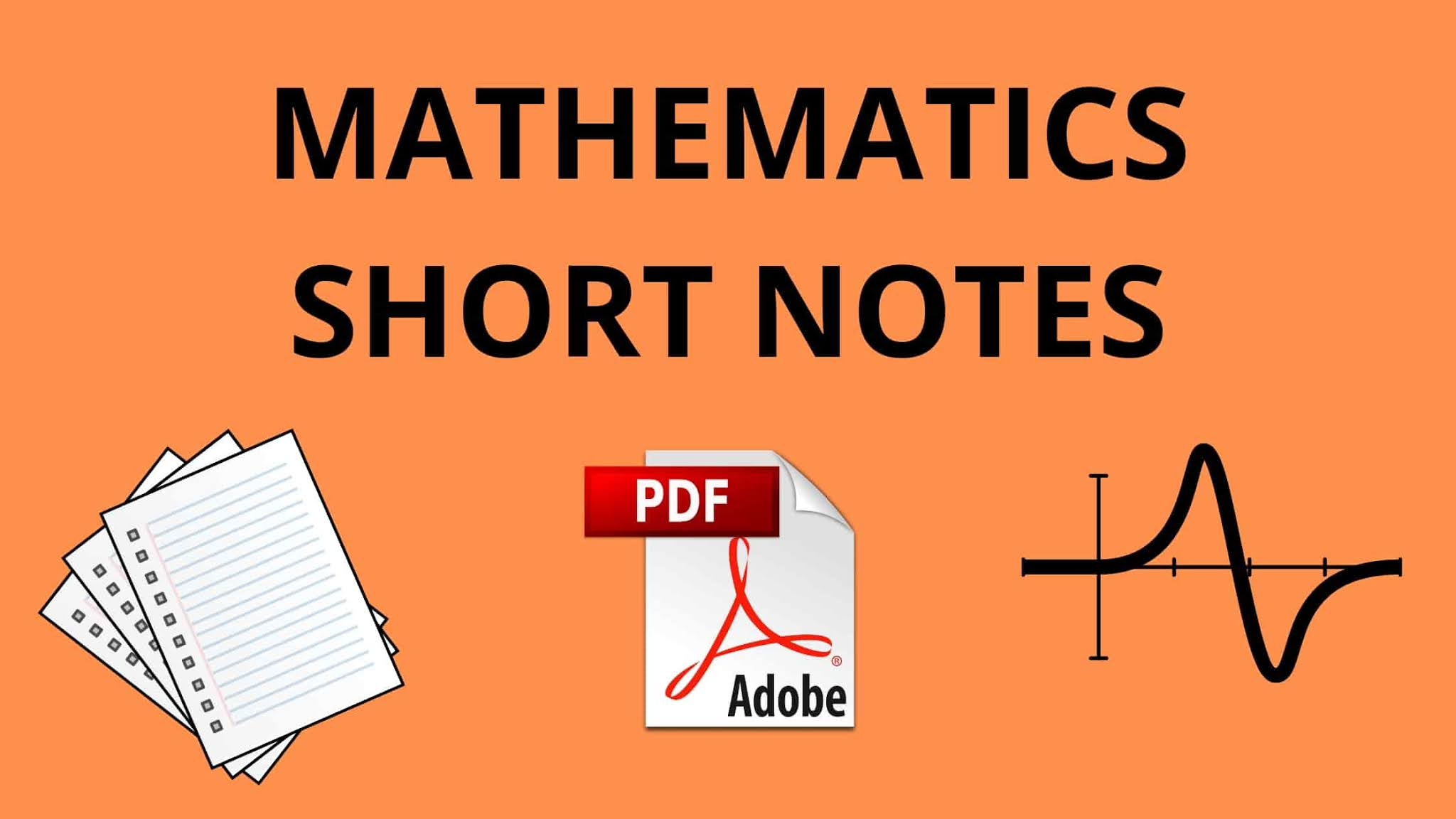 Maths Short Notes For IIT JEE Mains and Advance