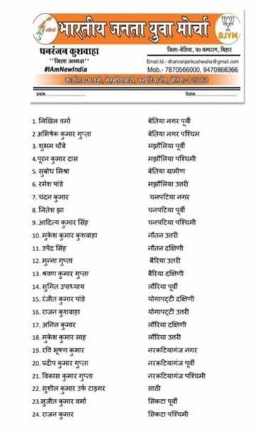 """निखिल वर्मा (Nikhil Verma) """"भारतीय जनता युवा मोर्चा"""" Bettiah West Champaran नगर पूर्वी के अध्यक्ष पद पर मनोनीत हुए।"""