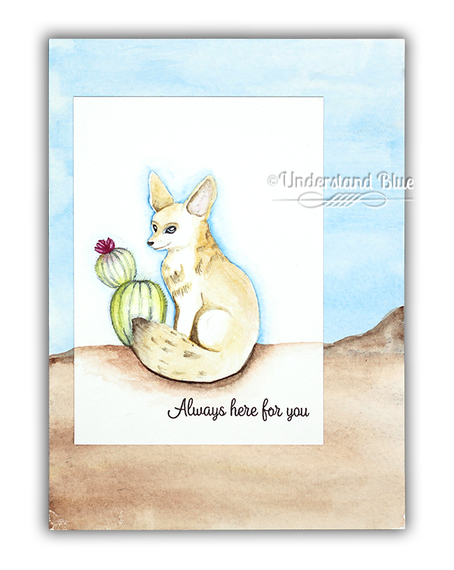 No-Line Watercolor Fennec Fox by Understand Blue