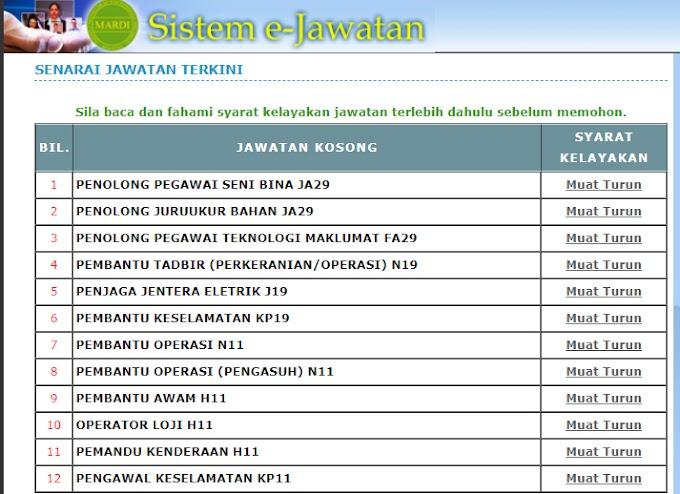 Jawatan Kosong Terkini di Institut Penyelidikan dan Kemajuan Pertanian Malaysia (MARDI).