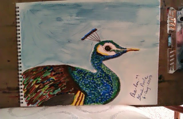 """pea hen"" sketch by Gloria Poole of Missouri; yr 2009"