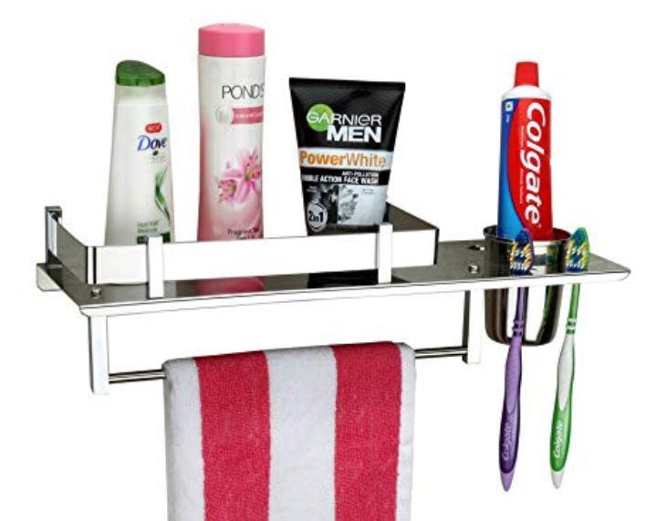 Multipurpose Bathroom Shelf Plantex Stainless Steel 3 in 1