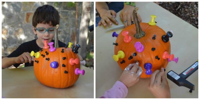 actividades, manualidades niños motricidad fina otoño, decorar calabazas con chinchetas