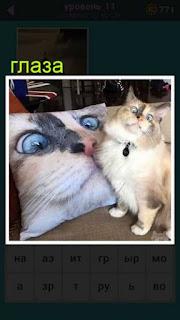 кошка на диване рядом с подушкой на которой точно такие же глаза изображены