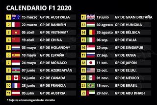 Calendario F1 Provisional. Calendario F1 2020. Calendario de Fórmula Uno 2020.