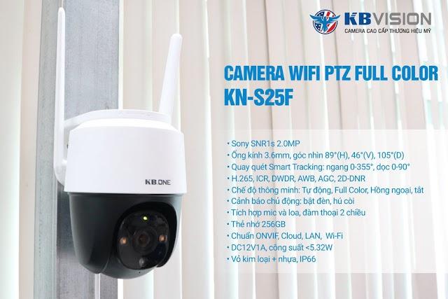 Review camera KBONE KN-S25F Fullcolor xoay 360 độ lắp đặt trong nhà và ngoài trời