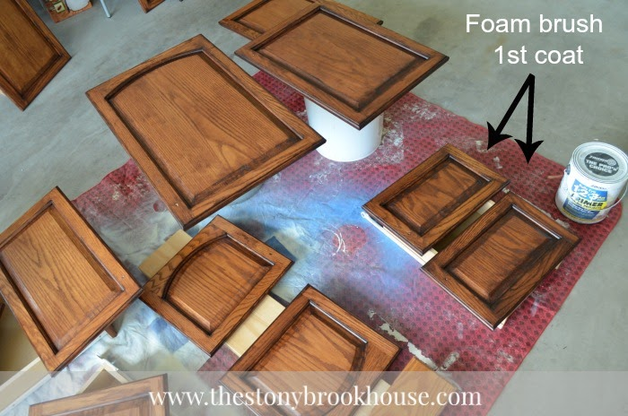 1st coat of all cabinet doors General Finishes Java