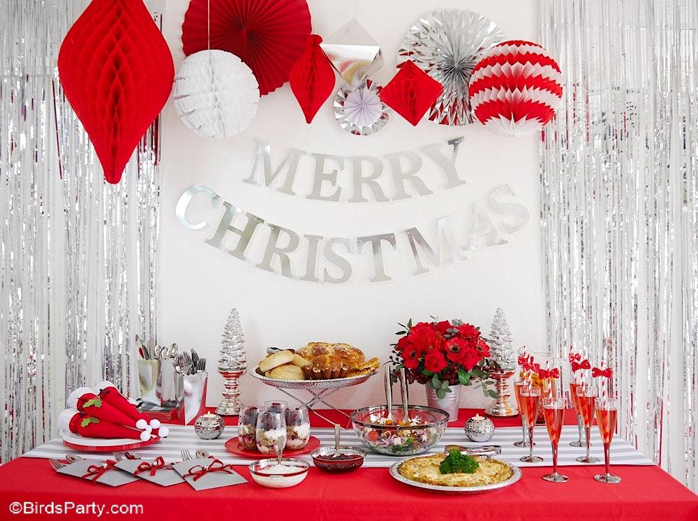 Brunch de Noël en Rouge et Argenté + Recettes - idées de décors et plats faciles à réaliser pour un brunch saisonnier magique en hiver! by BirdsParty.com @birdsparty #noel #noelrouge #brunchnoel #aperonoel #tablenoel #decordetable