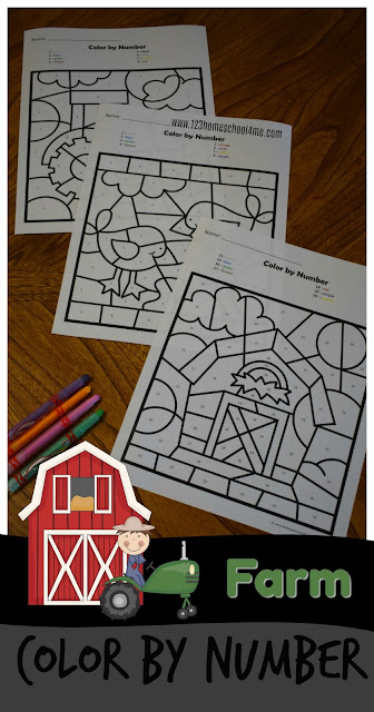 Color by Number Farm - free worksheets kindergarten or  preschool to practice numbers 1-20 in a fun, hands on activity. These kindergarten worksheets are great for strengthening fine motor skills so they will be ready to write letters.