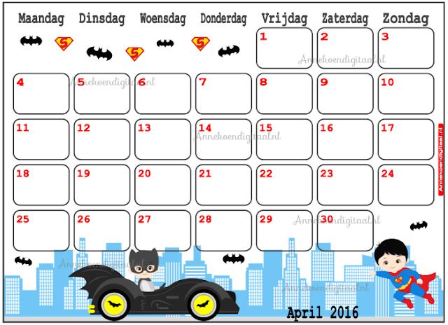 april kalender, kalender voor kinderen, aftelkalender, batman kalender, superman kalender, stoere kalender