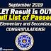 LET RESULTS (September 2019) Full List!