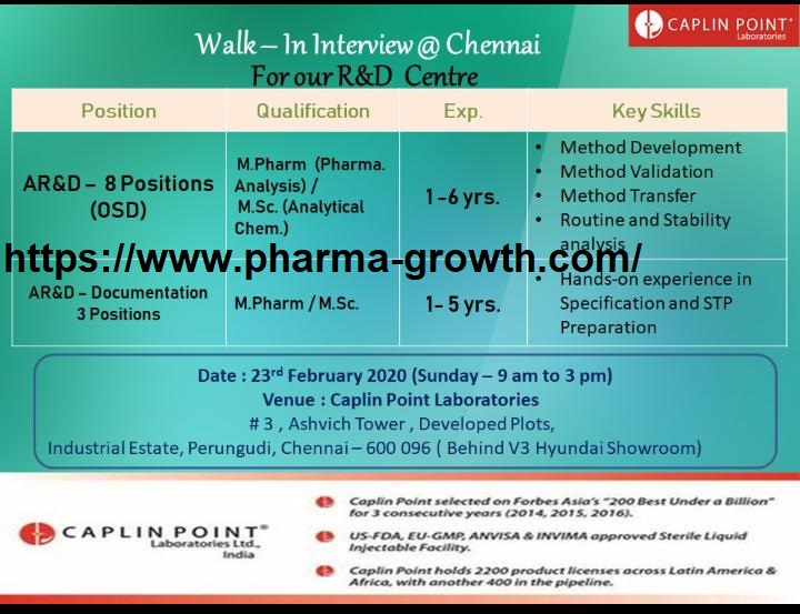 Caplin Point Laboratories - Walk in interview for ( 10 Position ) AR&D  on 23rd Feb 2020