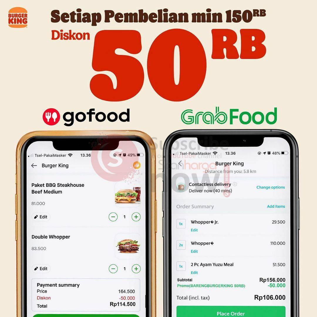 Burger King Promo Diskon Rp. 50.000 via Gofood & Grabfood