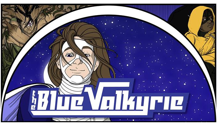 Descrição da imagem: Quadro dividido em três. No canto superior esquerdo há uma pessoa com aspecto de árvore com flores. No canto superior direito há uma pessoa negra com máscara domino e com um capuz amarelo. No meio está a Blue Valkyrie, uma mulher de cabelo castanho e máscara branca. Lê-se o nome da história The Blue Valkyrie.